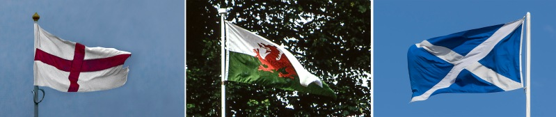 GB_150709 Yhdistynyt kuningaskunta_0395 Englannin lippu+GB205137 Yhdistynyt kuningaskunta Walesin lippu Cardiffin linnan tornissa+GB_150710 Yhdistynyt kuningaskunta_0105 Skotlannin lippu Edinburghissa