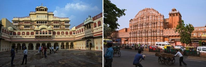 IN_151027 Intia_0809 Jaipurin Kaupunginpalatsi Rajasthanissa+IN_151027 Intia_0066 Jaipurin Tuulten palatsi Rajasthanissa