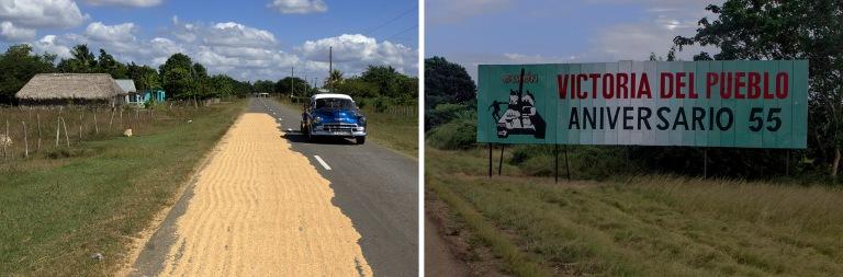 CU_161111 Kuuba_0058 Riisinkuivausta tiellä Cienfuegosin ja Mat