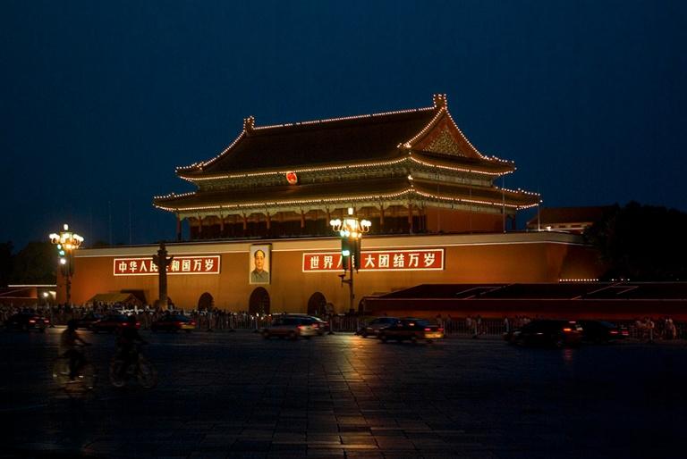 CN_070615 070 Kiina Pekingin Taivaallisen rauhan aukio iltavalai