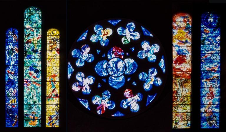 CH280120+CH280123+CH280125+CH280905  Sveitsi Marc Chagallin lasi