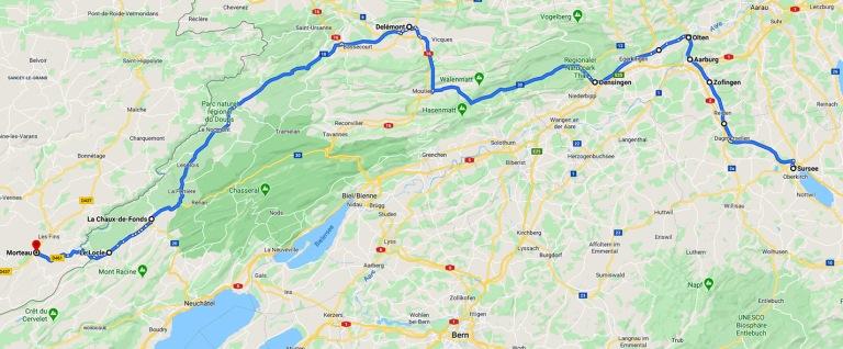 Sursee CH - Morteau FR -reitti