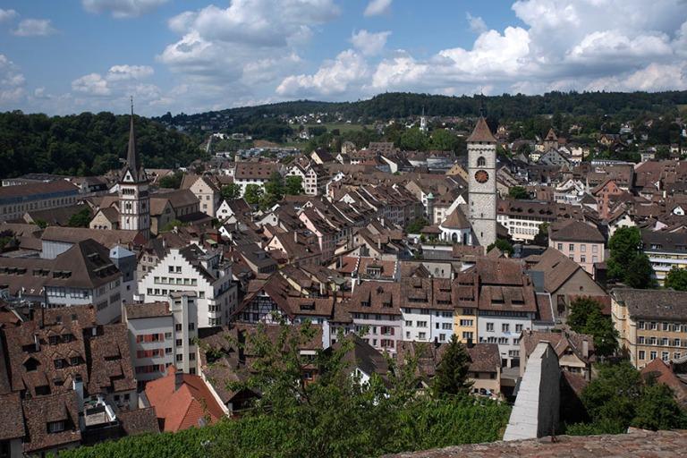 CH_190714 Sveitsi_0070 Schaffhausenin panraamaa Munot-linnoituks